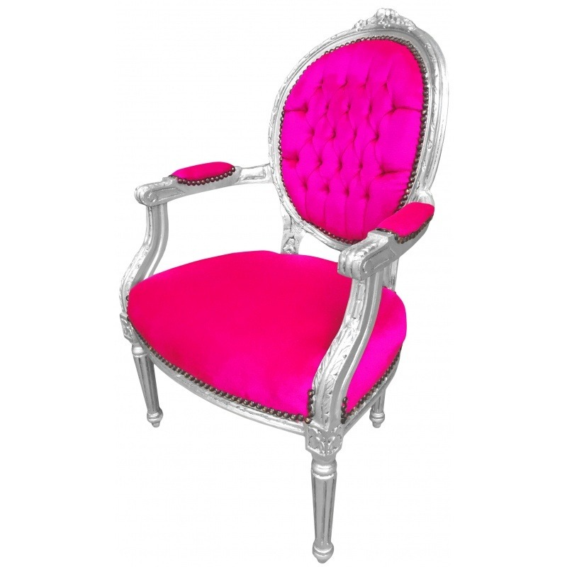 fauteuil baroque louis xvi velours rose fuchsia et bois argent. Black Bedroom Furniture Sets. Home Design Ideas