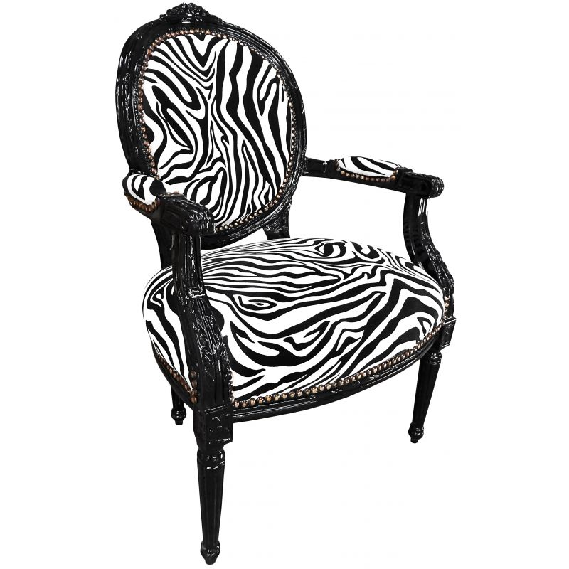 baroque armchair louis xvi zebra fabric and black lacquered wood. Black Bedroom Furniture Sets. Home Design Ideas