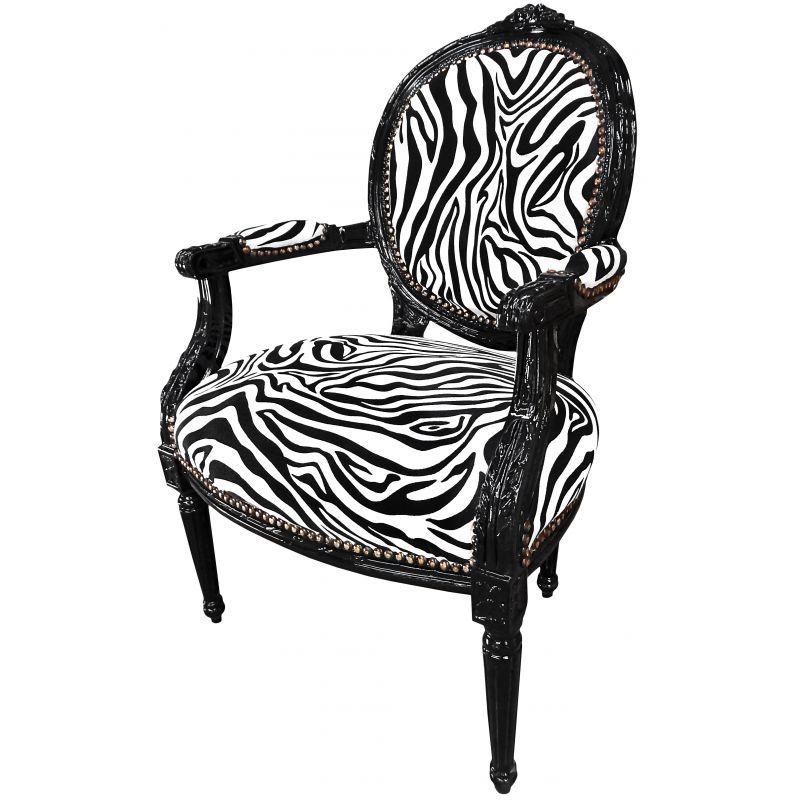 fauteuil baroque de style louis xvi zebr et bois noir. Black Bedroom Furniture Sets. Home Design Ideas