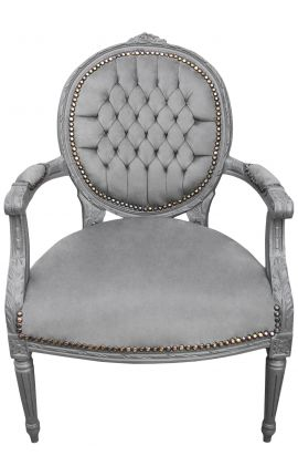 Baroque armchair Louis XVI style grey velvet and grey lacquered wood