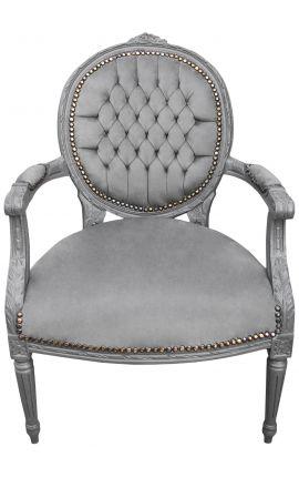 Fauteuil Louis XVI de style baroque velours gris et bois gris