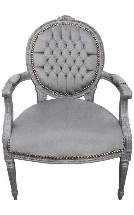 Baroque armchair Louis XVI style medallion grey texture and grey lacquered wood
