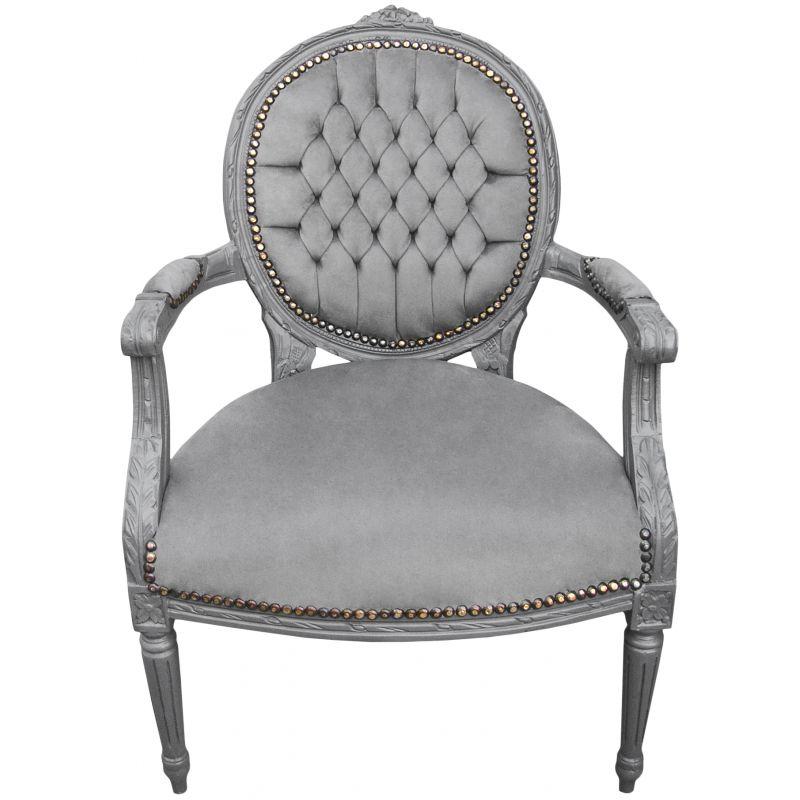 Baroque De Style Louis XVI Tissu Gris Et Bois Gris - Petit fauteuil en bois