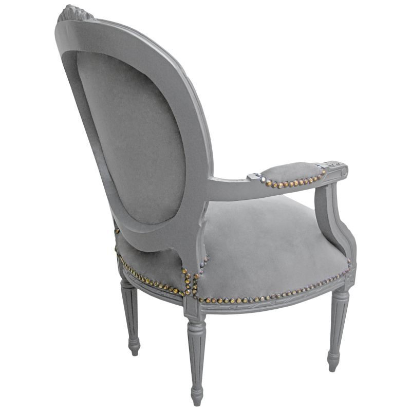 fauteuil baroque de style louis xvi tissu gris et bois gris. Black Bedroom Furniture Sets. Home Design Ideas