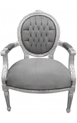 Fauteuil Louis XVI de style baroque velours gris et bois argenté