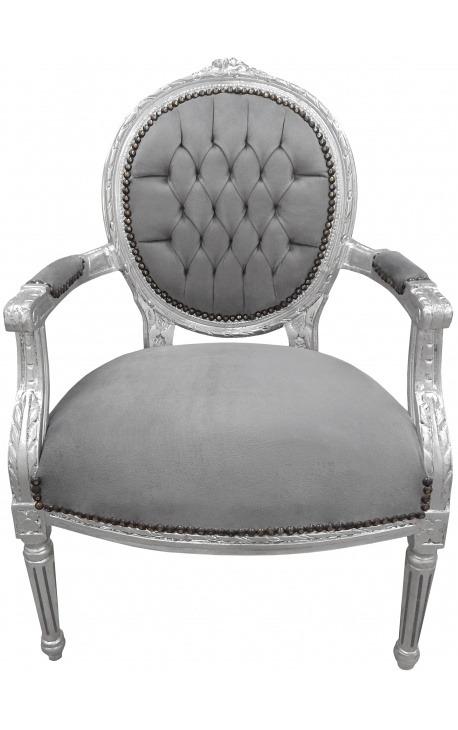 Fauteuil Baroque fauteuil baroque louis xvi velours gris et bois argenté