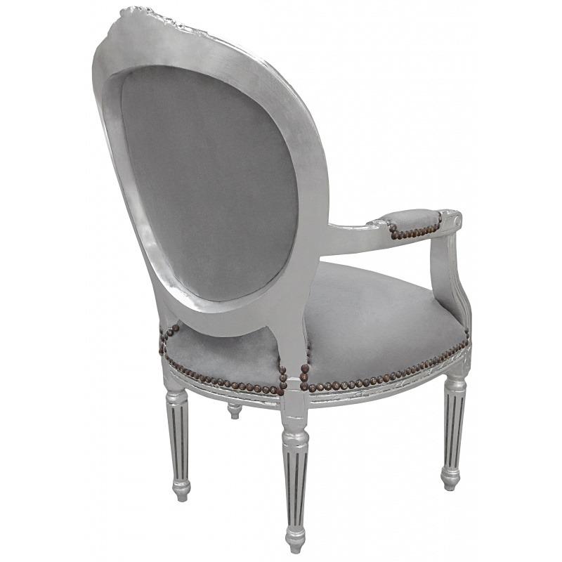 fauteuil baroque louis xvi velours gris et bois argent. Black Bedroom Furniture Sets. Home Design Ideas
