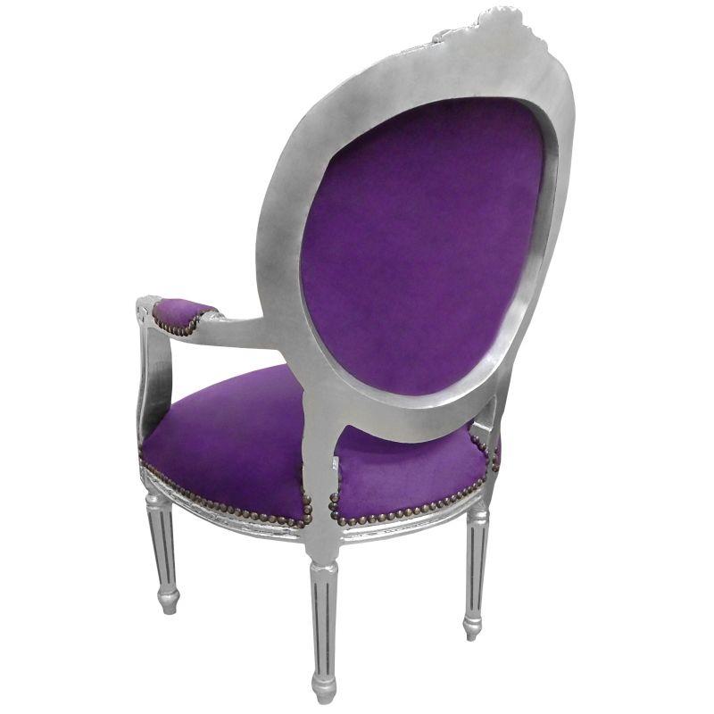 fauteuil baroque de style louis xvi velours mauve et bois. Black Bedroom Furniture Sets. Home Design Ideas