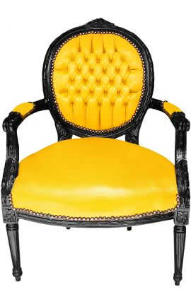 Baroque armchair Louis XVI style medallion in false yellow leather skin and black lacquered wood