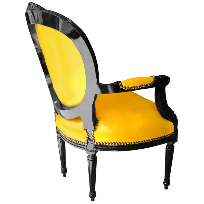 fauteuil baroque louis xvi simili cuir jaune et bois laqu. Black Bedroom Furniture Sets. Home Design Ideas