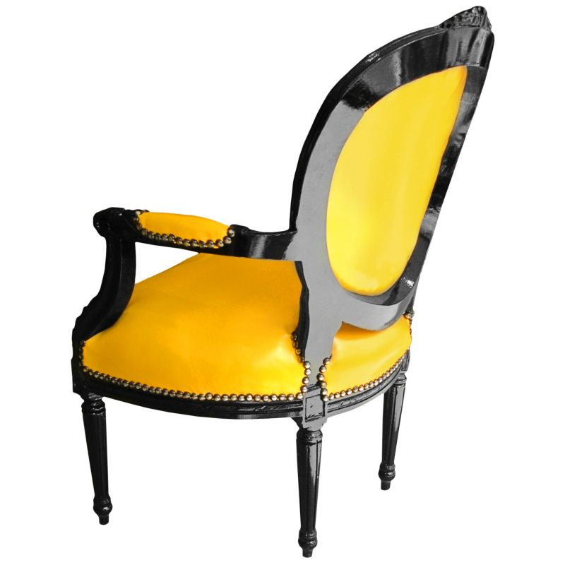 fauteuil baroque louis xvi simili cuir jaune et bois laqu noir. Black Bedroom Furniture Sets. Home Design Ideas