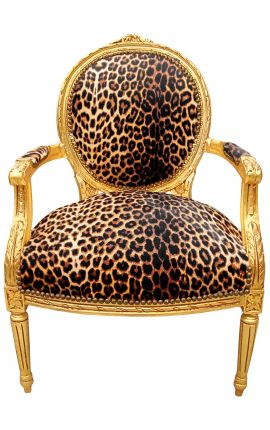 Baroque armchair Louis XVI style leopard and gilded wood