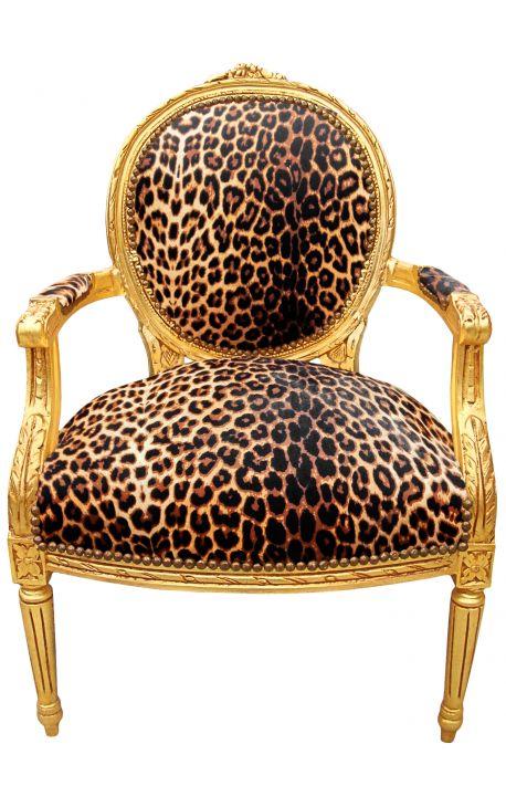 Fauteuil baroque de style Louis XVI leopard et bois doré