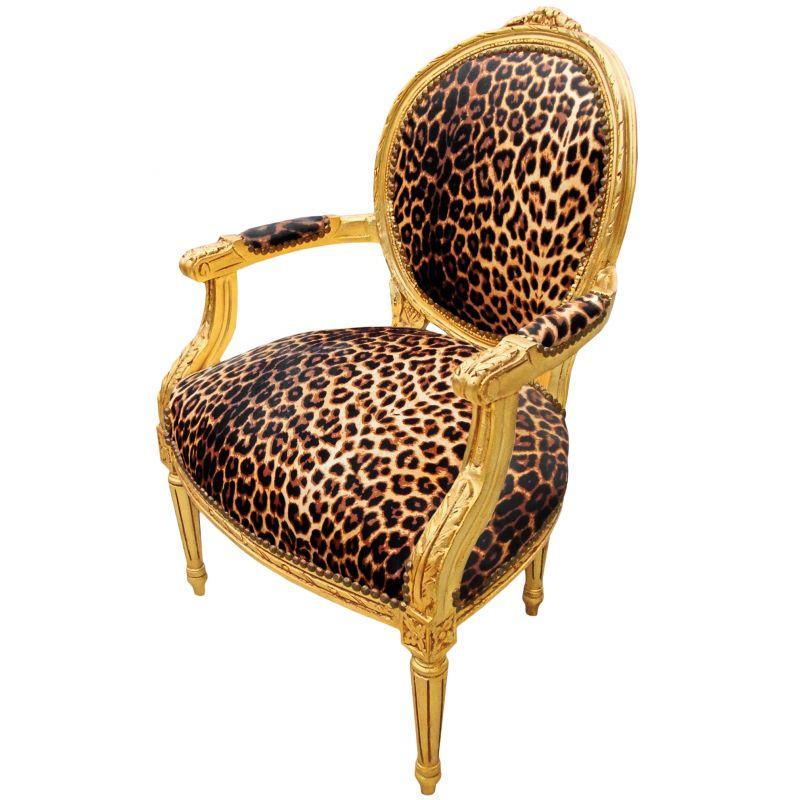 fauteuil baroque de style louis xvi leopard et bois dor. Black Bedroom Furniture Sets. Home Design Ideas