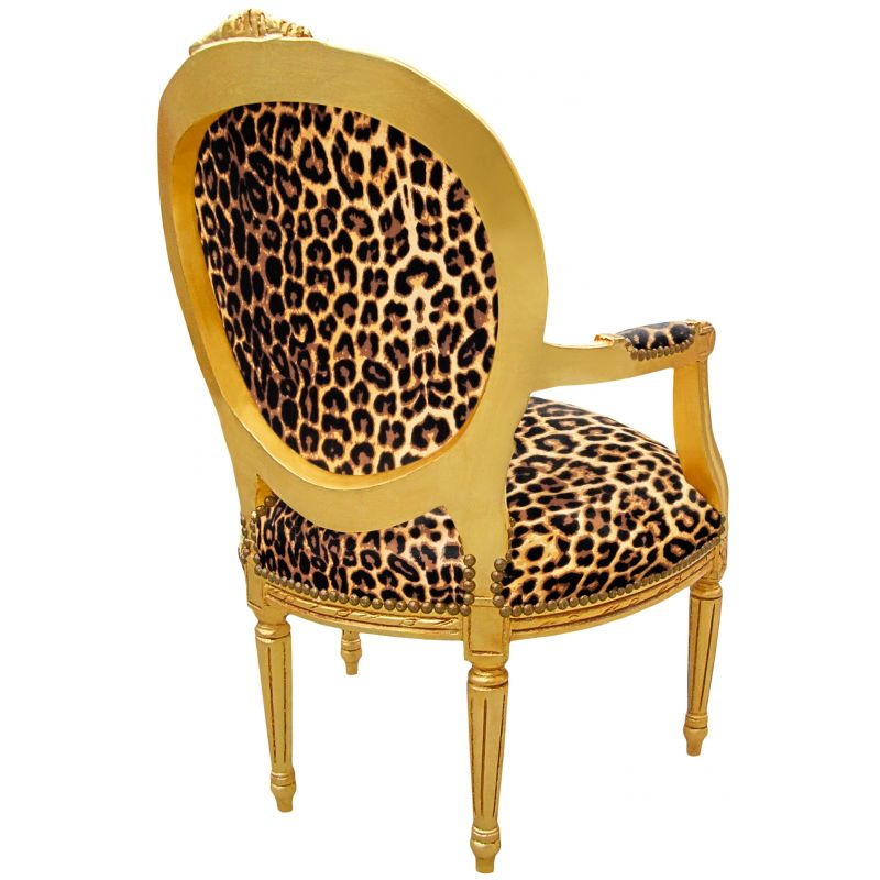 Baroque armchair Louis XVI style leopard fabric and gold wood