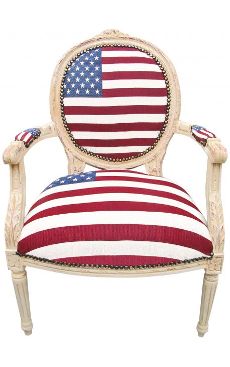 Armchair baroque style of Louis XVI American flag and beige wood