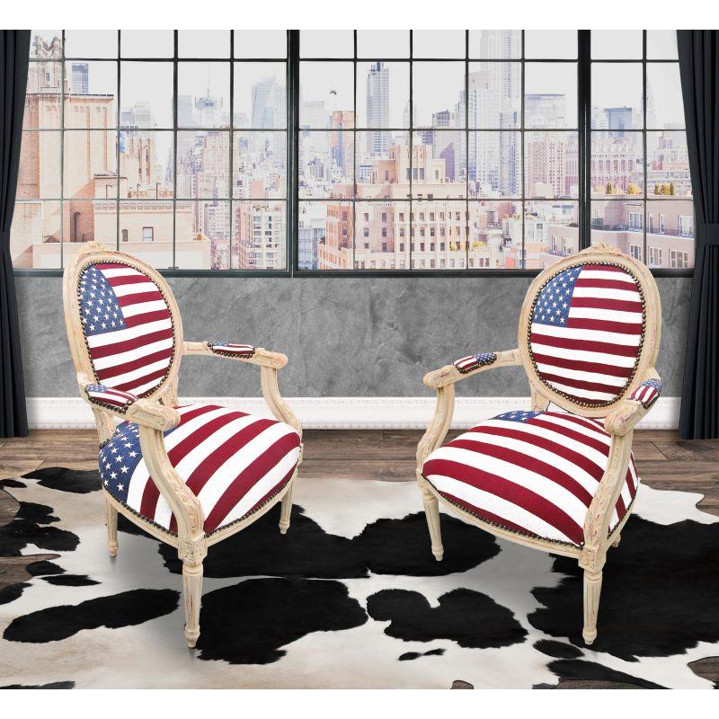 Fauteuil baroque de style louis xvi drapeau americain et - Fauteuil de jardin en bois style americain ...