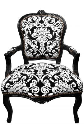 Baroque armchair of Louis XV style with white floral fabric and black wood