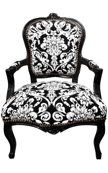 Стиль барокко кресло Louis XV с белым цветочным ткани и черного дерева
