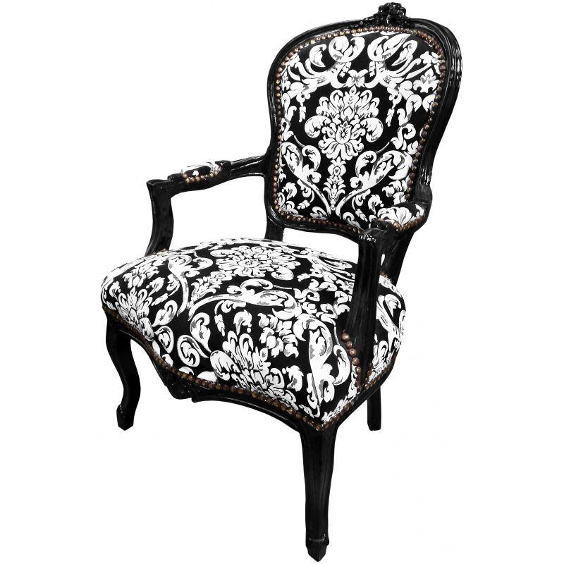 fauteuil baroque de style louis xv motifs floraux blanc et bois noir. Black Bedroom Furniture Sets. Home Design Ideas