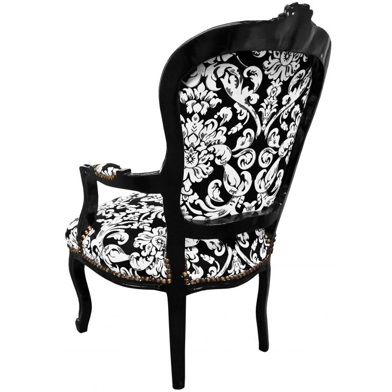 fauteuil baroque de style louis xv motifs floraux blanc et. Black Bedroom Furniture Sets. Home Design Ideas