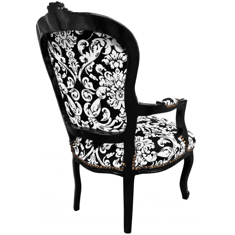 Baroque armchair Louis XV style with white floral fabric ...