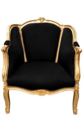 Big bergère armchair Louis XV style black velvet and gold wood