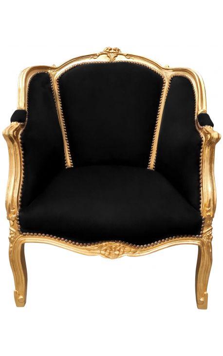 Большой кабриолет кресло Louis XV, с черными бархата и позолоченного дерева