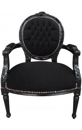 Fauteuil Louis XVI de style baroque velours noir et bois noir