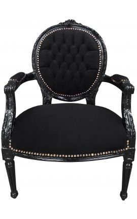 Baroque armchair Louis XVI style black velvet and black wood
