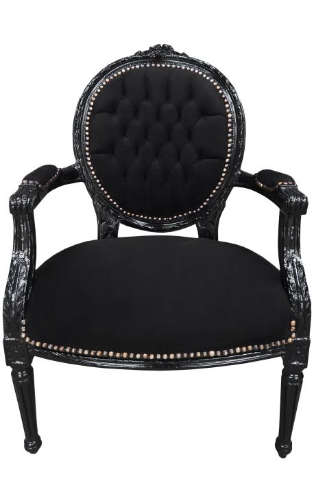 Baroque armchair Louis XVI style medallion black texture and black lacquered wood