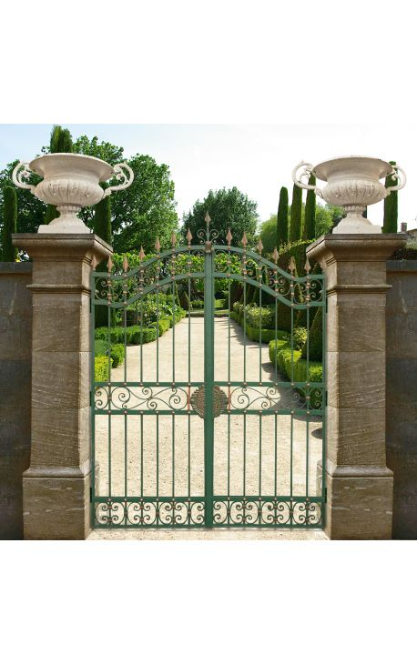 Gate for castle, baroque wrought iron gates with two leaves