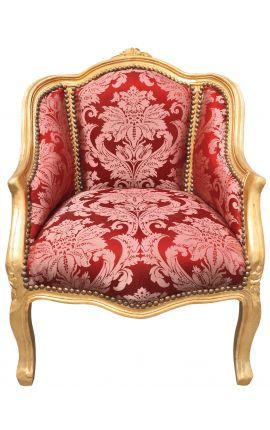 """Bergère de style Louis XV satiné rouge aux motifs """"Gobelins"""" et bois doré"""