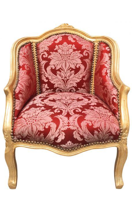 """Bergère de style Louis XV satiné rouge aux motifs """"Goblins"""" et bois doré"""