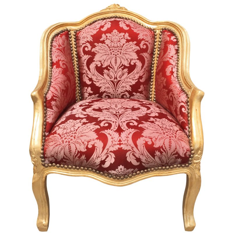 Baroque bergere armchair louis xv style gobelins red satin fabric gold leaf wood - Mobilier style louis xv ...