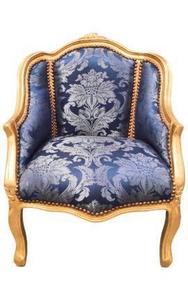 """Bergère de style Louis XV satiné bleu aux motifs """"Gobelins"""" et bois doré"""