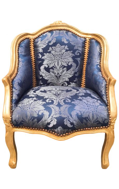 """Bergere armchair Louis XV style blue """"Goblin"""" satine fabric and gold wood"""