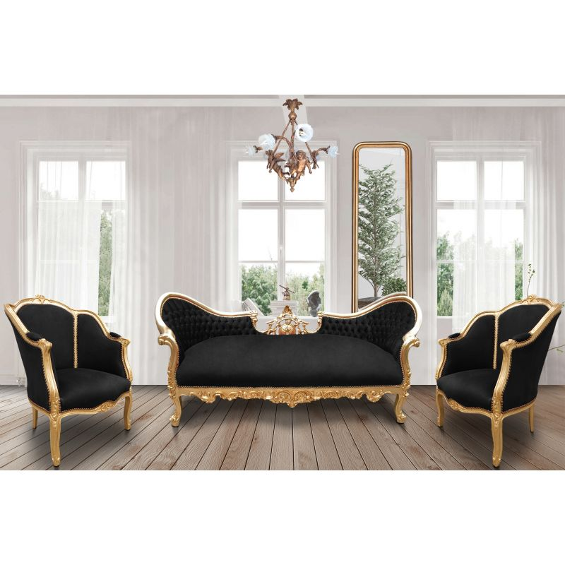 Baroque Napoleon Iii Sofa Black Velvet Fabric And Gold Wood
