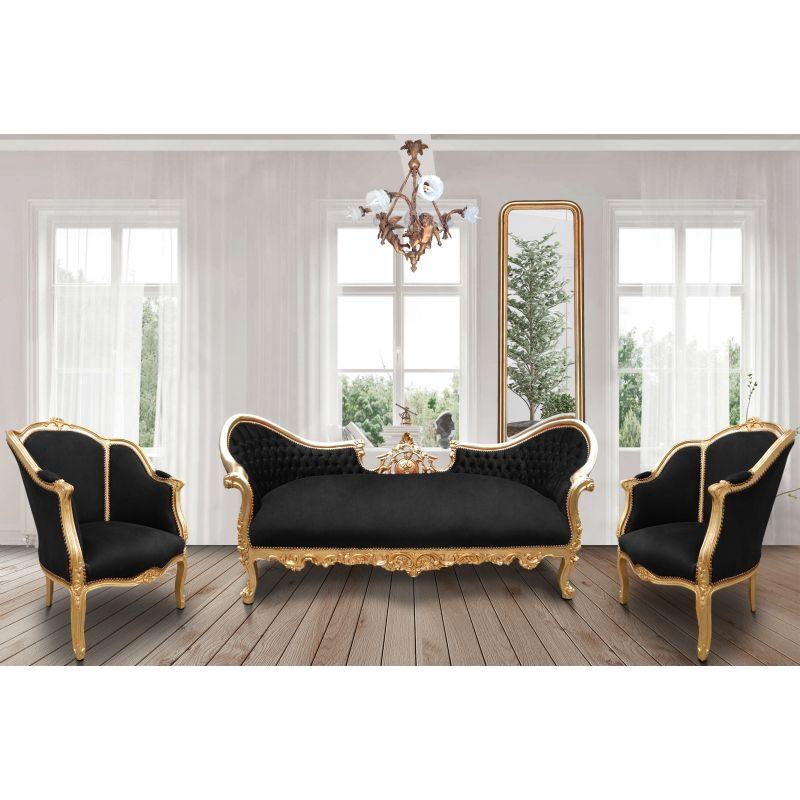 canap baroque napol on iii tissu velours noir et bois dor. Black Bedroom Furniture Sets. Home Design Ideas
