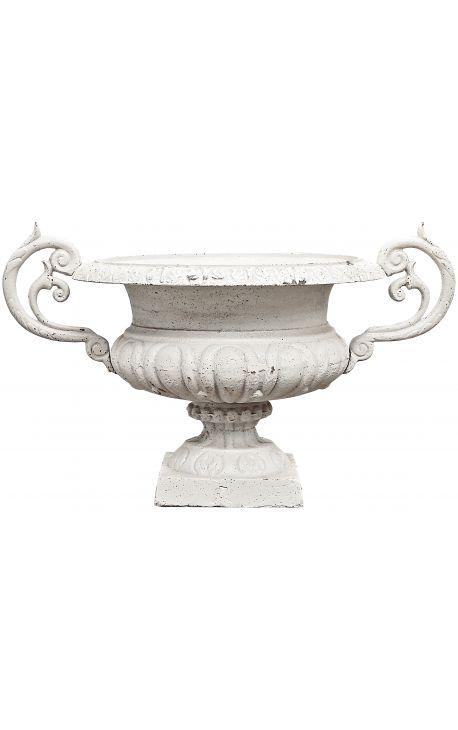 Grand vase médicis en fonte avec anses, beige patiné