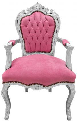 Fauteuil de style Baroque Rococo tissu velours rose et bois argenté