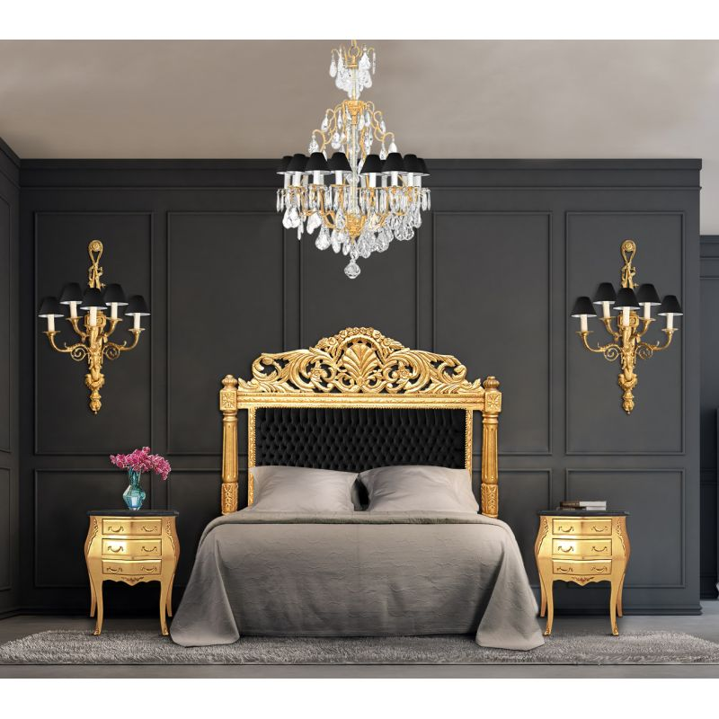 baroque bed headboard black velvet fabric and gold wood. Black Bedroom Furniture Sets. Home Design Ideas