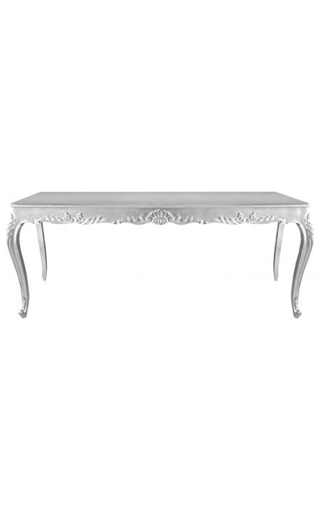 Baroque dining table wood with silver leaf