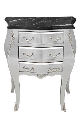 Table de nuit (chevet) commode baroque en bois argenté plateau marbre noir