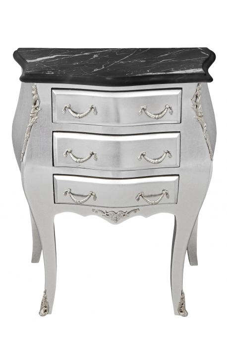 Nightstand (Bedside) baroque wooden silver with black marble