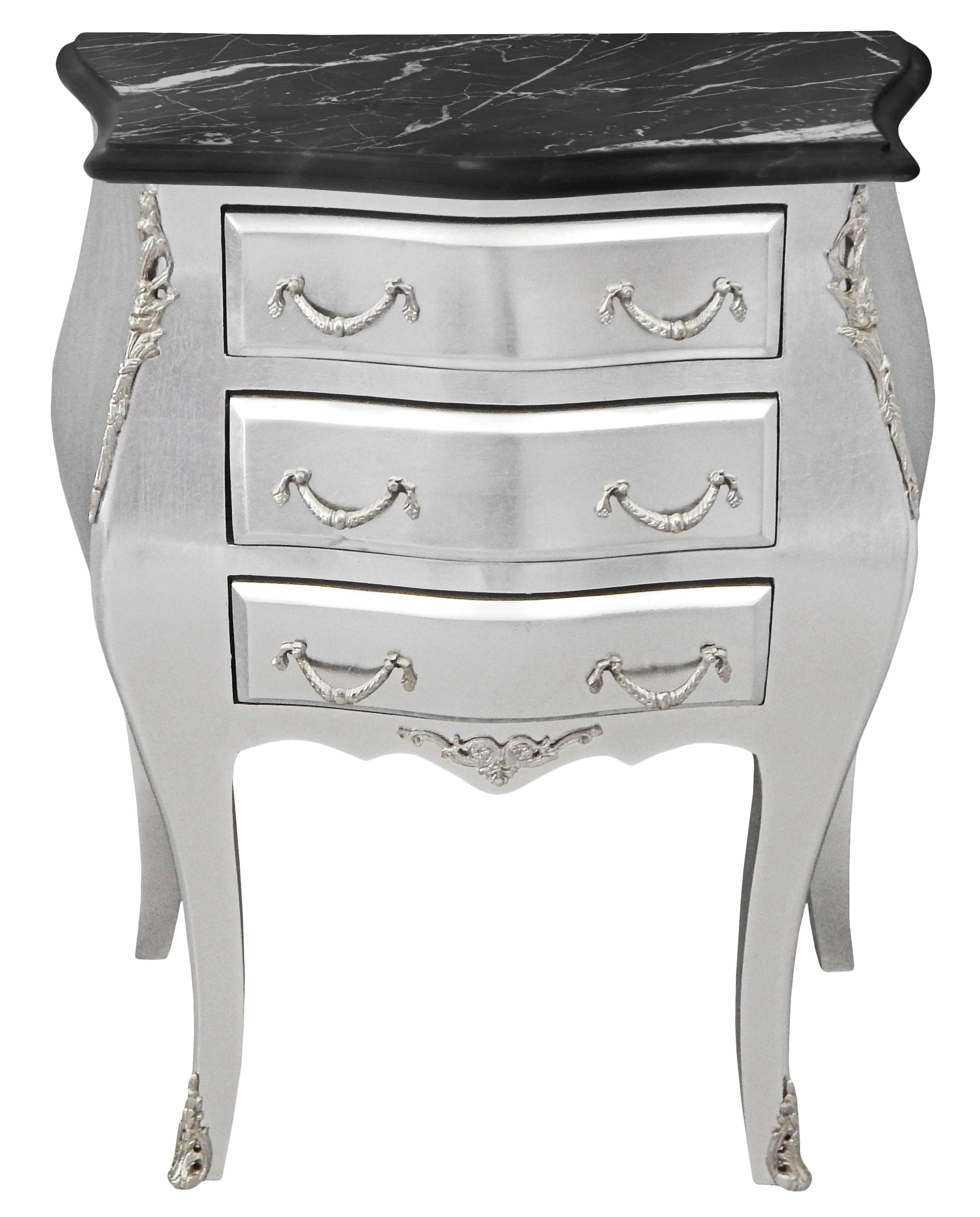 Bedside Nighstand Baroque Wooden Silver Wood With Black Marble