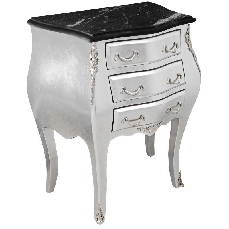 Table de nuit chevet commode baroque bois argent - Table de nuit baroque ...