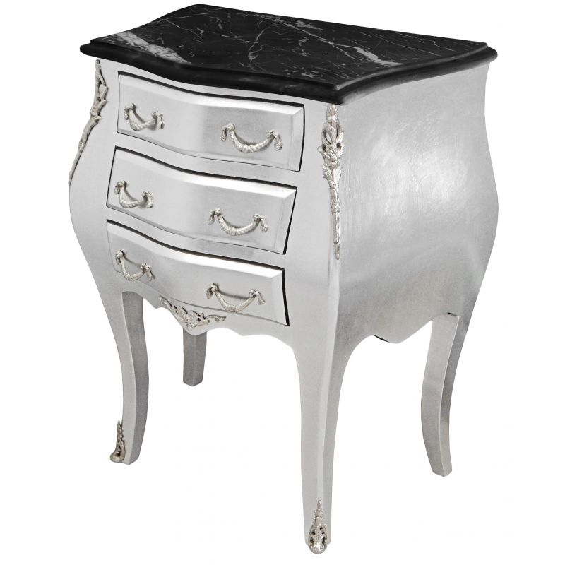 Table de nuit chevet commode baroque bois argent - Table de chevet argente ...
