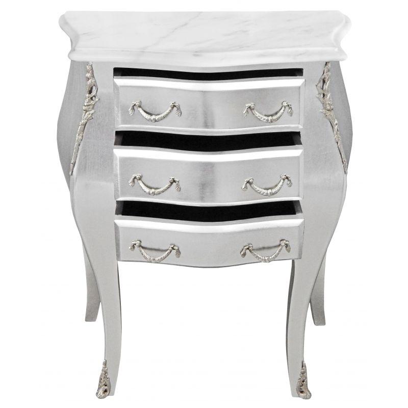 table de nuit chevet commode baroque bois argent plateau marbre blanc. Black Bedroom Furniture Sets. Home Design Ideas