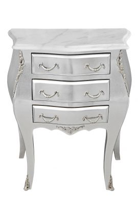Table de nuit (chevet) commode baroque en bois argenté plateau marbre blanc